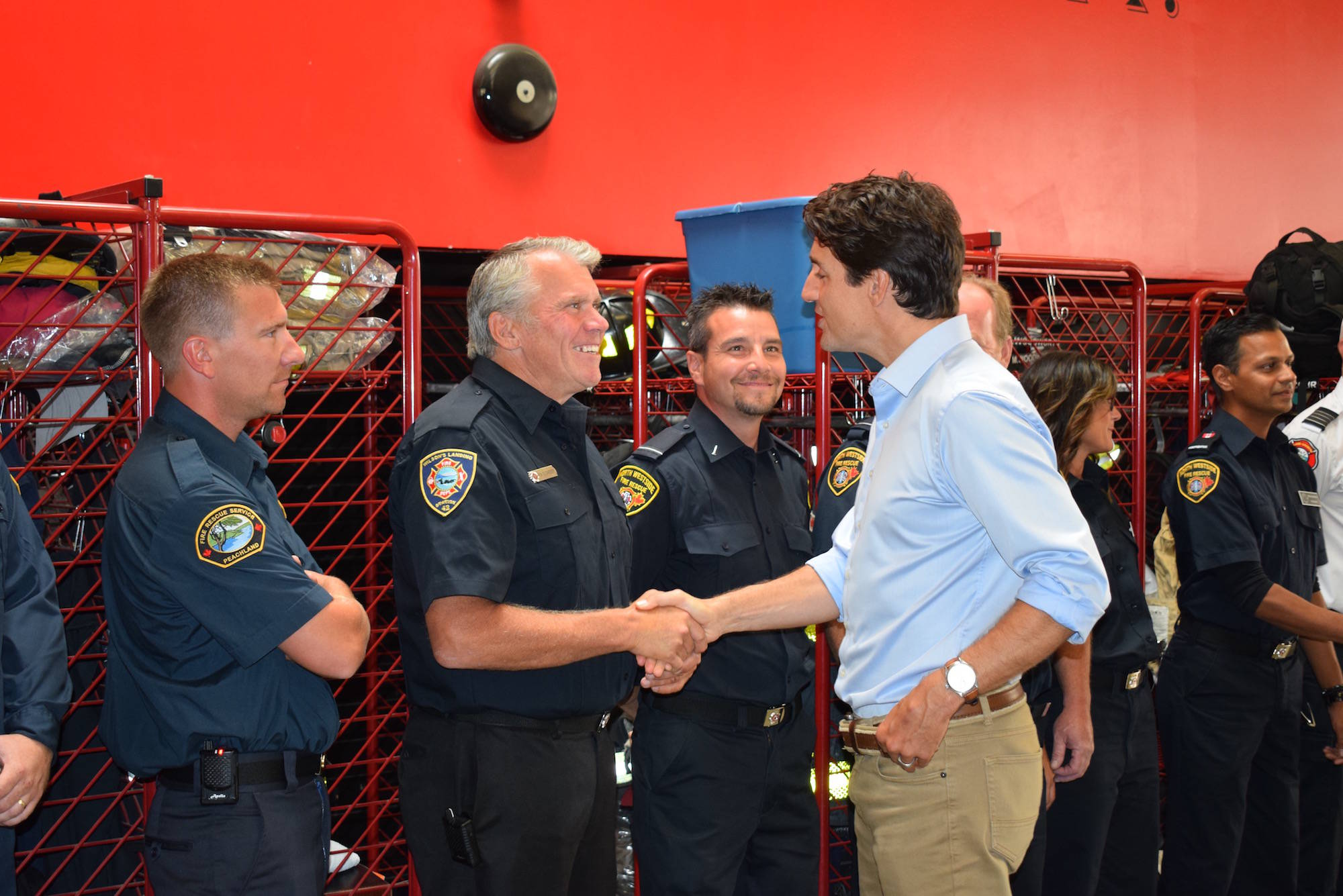Prime Minister Justin Trudeau met with firefighters in Kelowna on Sept. 5, 2017. Image credit: Al Waters