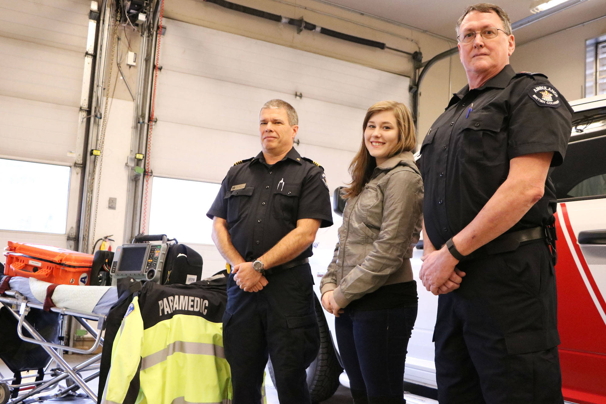 Paramedics Roy Stanley (left) and Derek Morris got to meet 19-year-old Jayden Arnold for the first time since they saved her life 17 years ago Friday morning.                                (Dustin Godfrey/Western News)