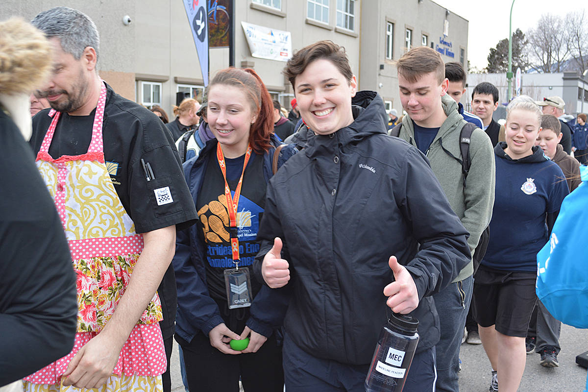 Hannah Moir gives a thumbs up during the sixth annual Stride to End Homelessness, March 4 at the Kelowna Gospel Mission. - Image Credit: Carli Berry/Capital News