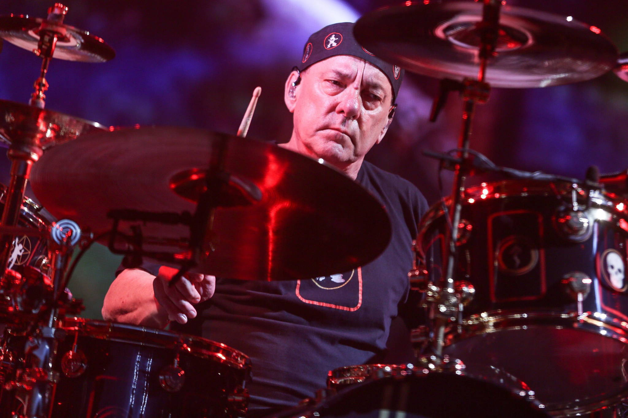 Neil Peart of Rush performs during the final show of the R40 Tour at The Forum on Saturday, Aug. 1, 2015, in Los Angeles. (Rich Fury/Invision/AP)